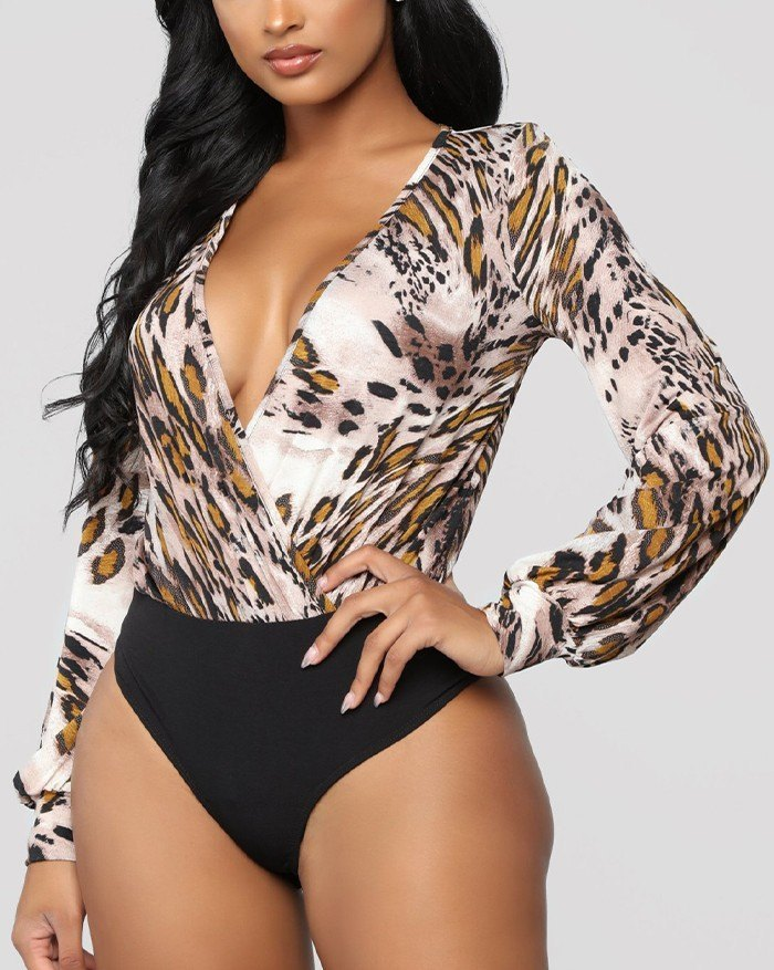 V Neck Printed Slim Fit Bodysuit - As The Picture M