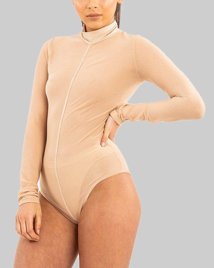 Solid Color  Long Sleeve Bodysuit - Beige L