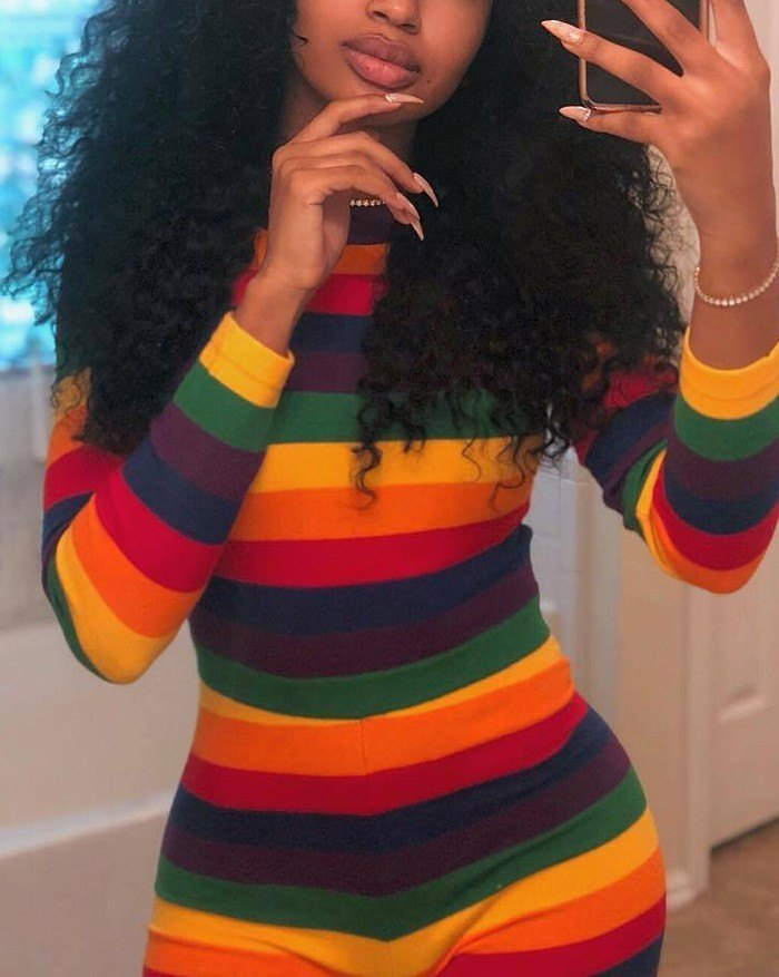 Colorful Rainbow Striped Bodysuit - As The Picture L