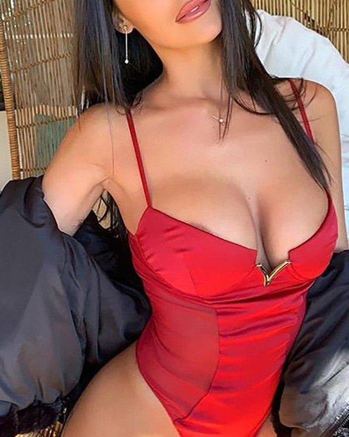 Mesh Splicing Body Bodycon Bodysuit - Red 2XL