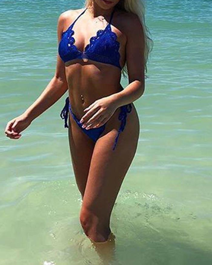 Bikini lavorato a maglia con collo appeso - Blu L