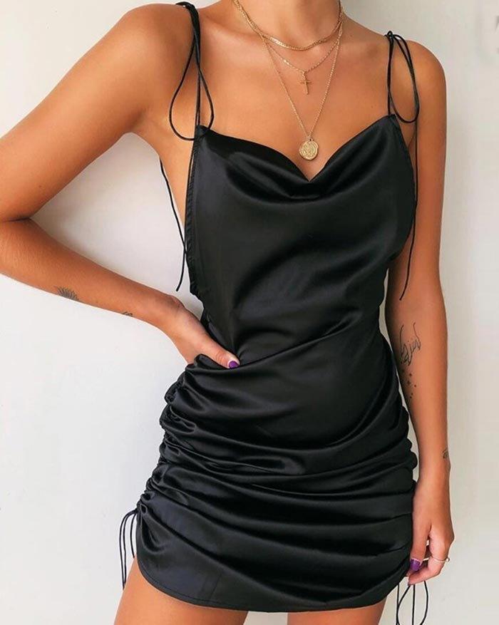Boat Neckline Satin Mini Dress - Black M