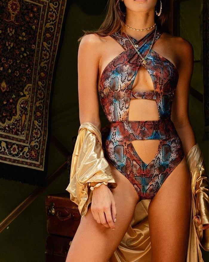 Snake Printed Cross Hollow Out One-Piece Swimsuit - Brown S