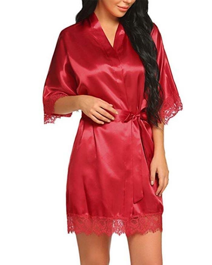 V-Neckline Satin Pajama Dress - Red L
