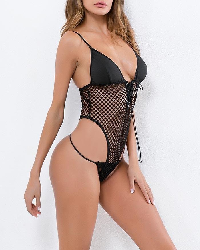 Lace stitching mesh deep V perspective mesh bodysuit - Black M