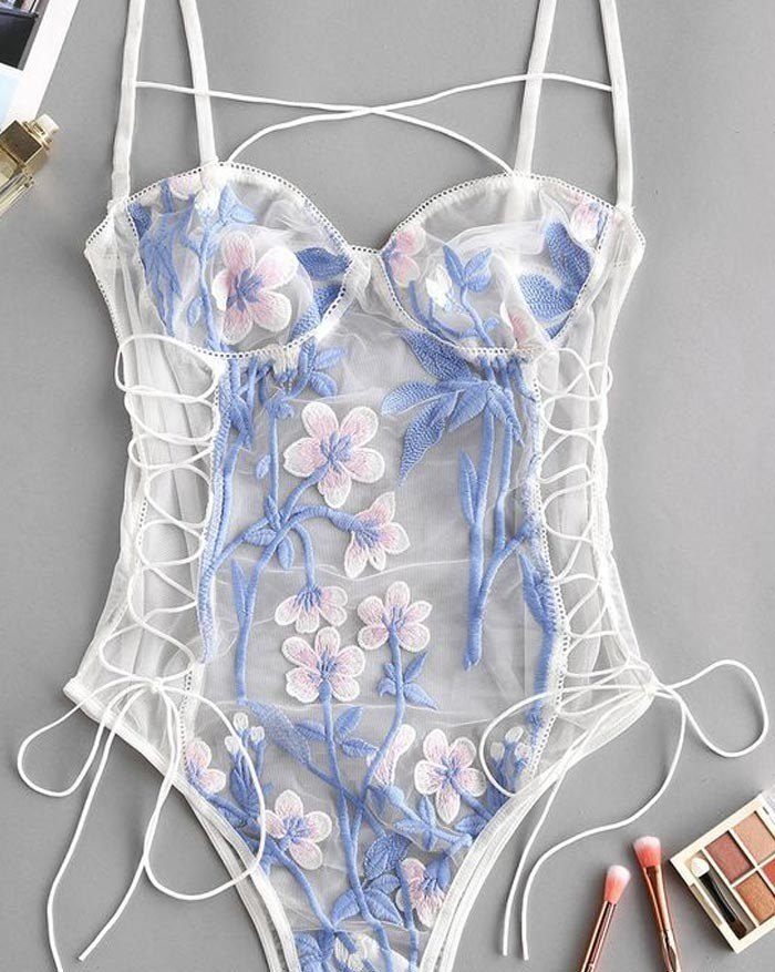 Embroidery Lace Perspective Bandage Bodysuit - White 2XL