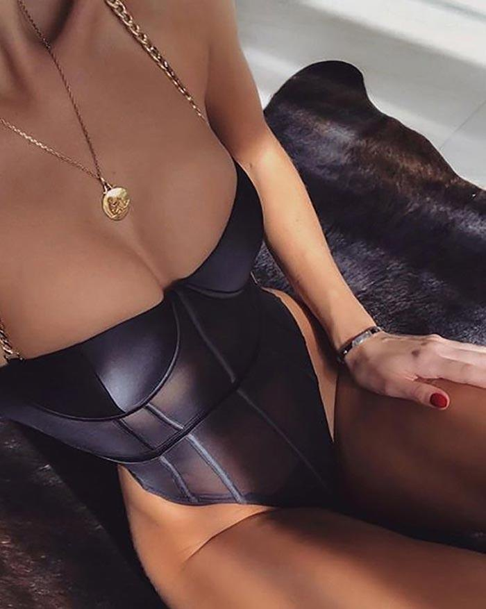 Metal Chain Mesh Perspective Bodysuit - Black M