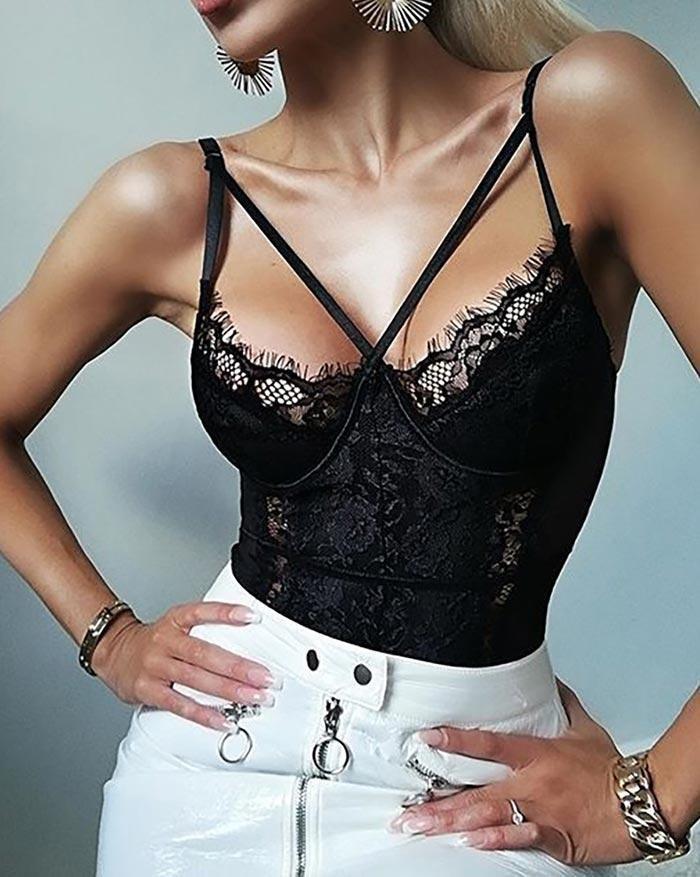 Lace Stitching Mesh Perspective Bandage Bodysuit - Black S