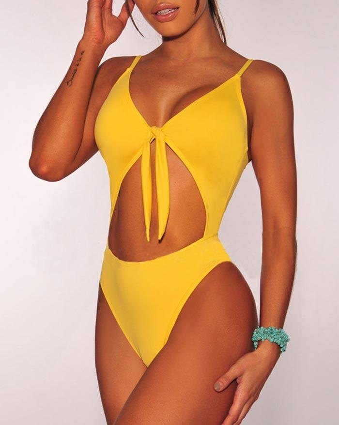 Solid Color Pleated Hollow Out One-Piece Swimsuit - Yellow S
