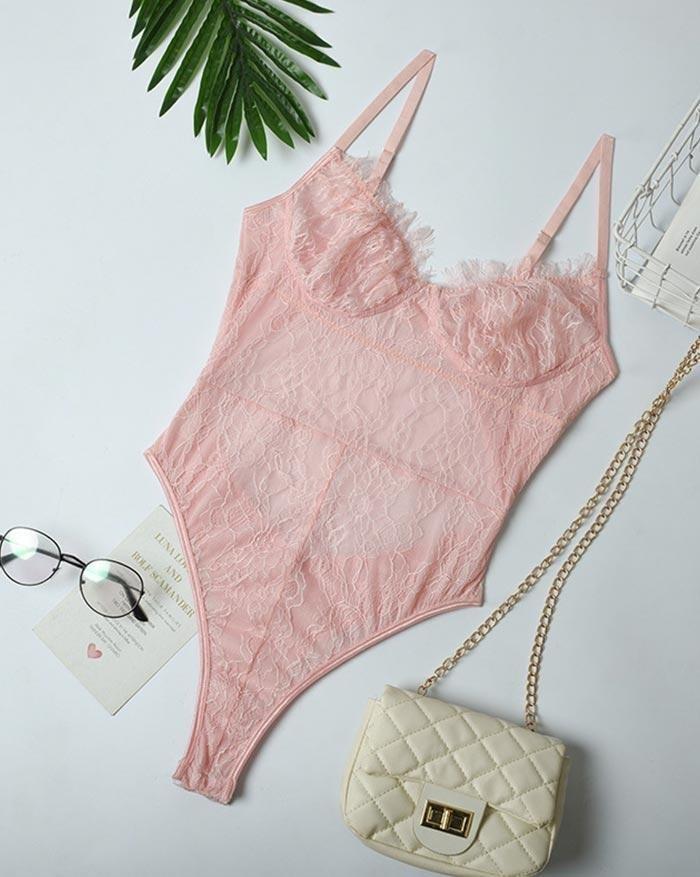 Eyelash Lace Stitching Perspective Bodysuit - Pink M