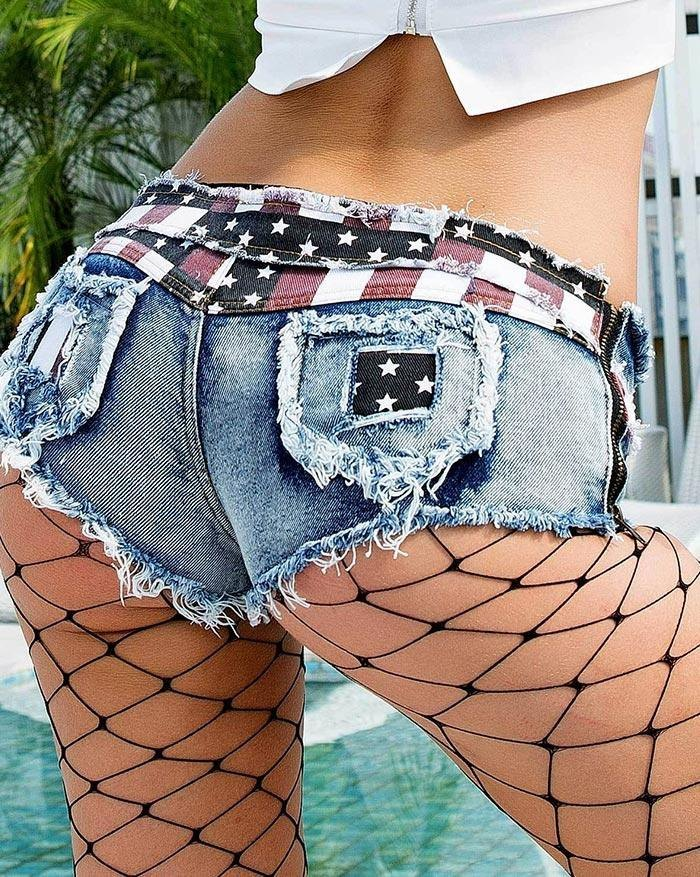 Sexy Star And Stripe Print Low Waist Denim Shorts - As The Picture M