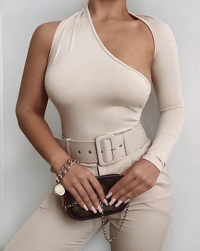 One Shoulder Long Sleeve Bodysuit - Ivory L