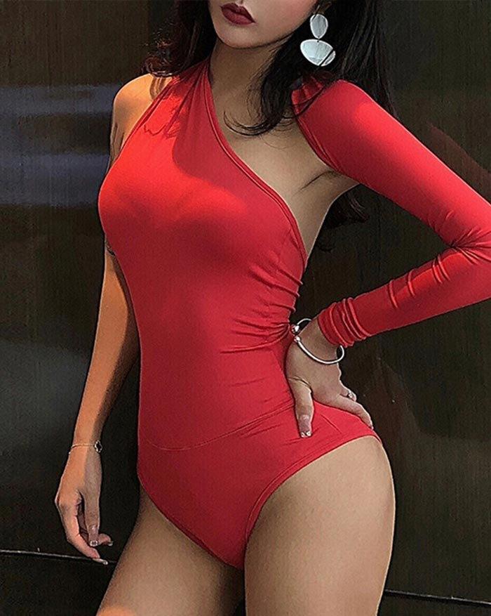 One Shoulder Long Sleeve Bodysuit - Red L