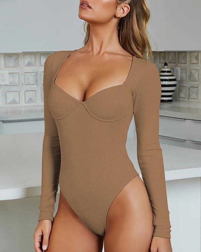 Rib V-Neck Long Sleeve Bodysuit - Camel M