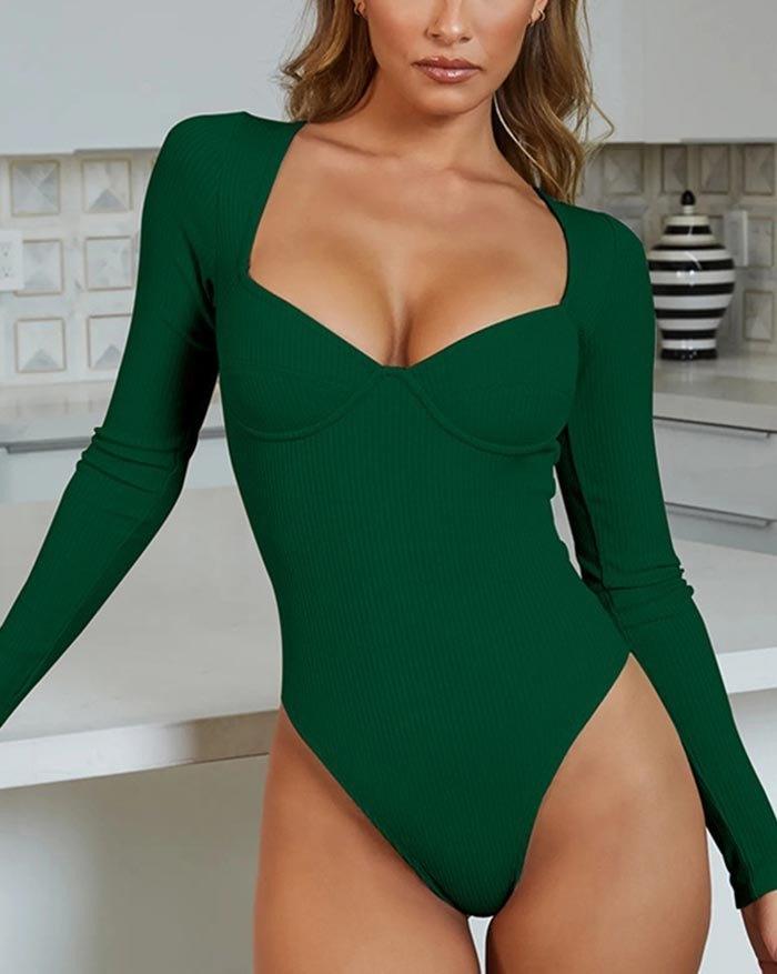 Rib V-Neck Long Sleeve Bodysuit - Green L