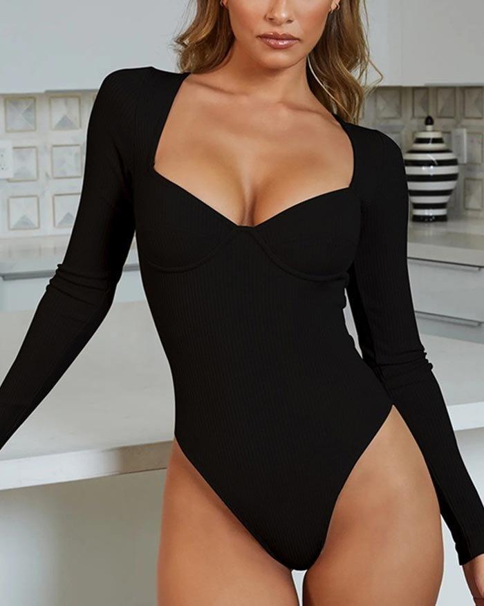 Rib V-Neck Long Sleeve Bodysuit - Black M