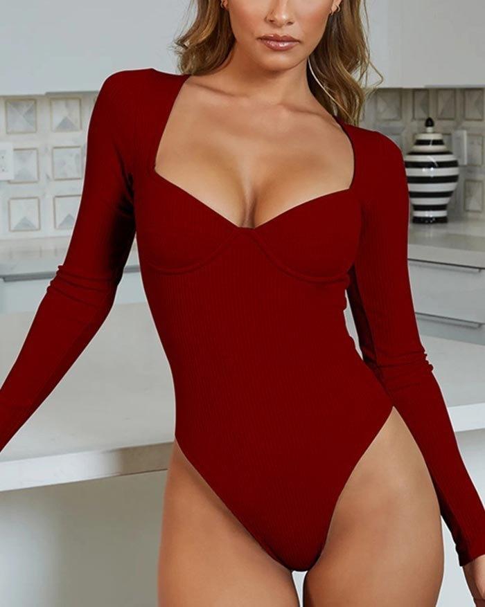 Rib V-Neck Long Sleeve Bodysuit - Red L