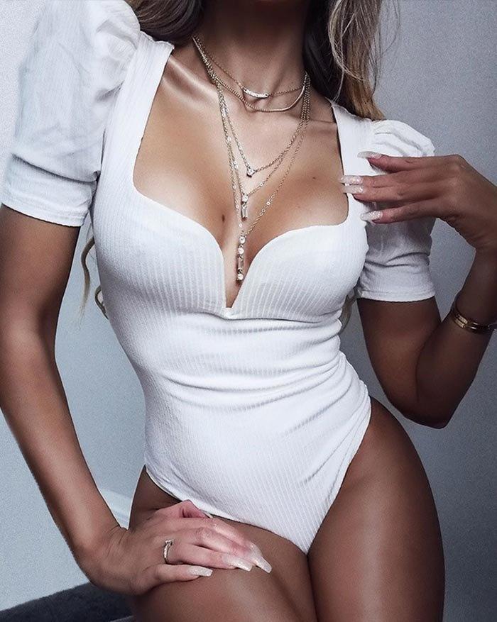V-Neck Bubble Sleeve Bodysuit - White M