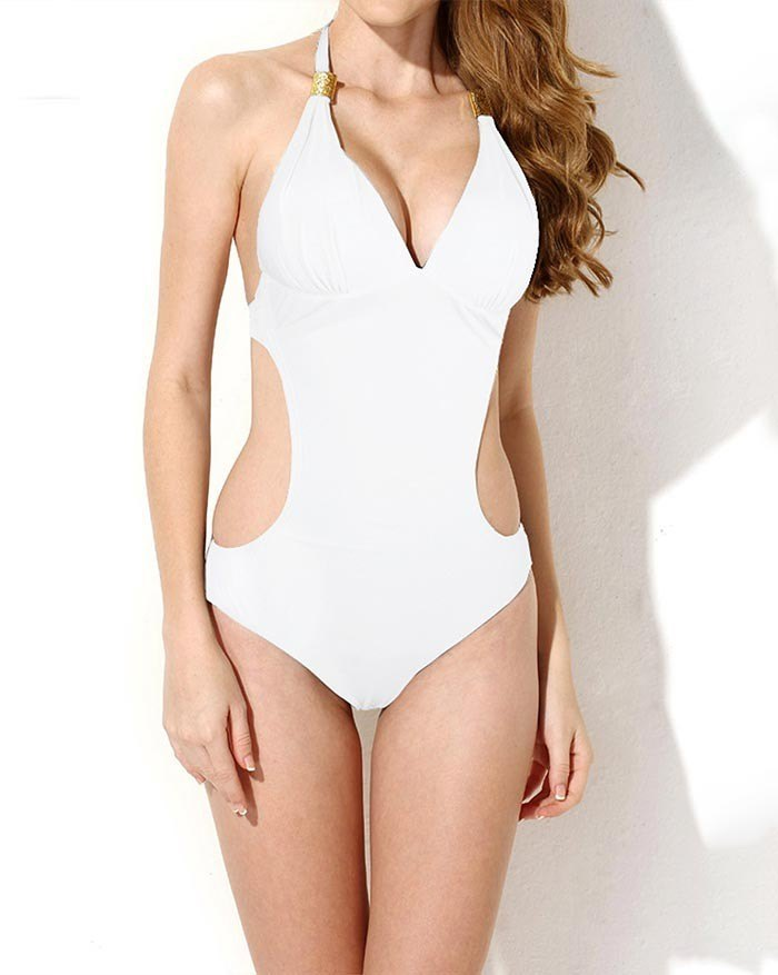 V-Neck Hollow Out Tie One-Piece Swimsuit - White M