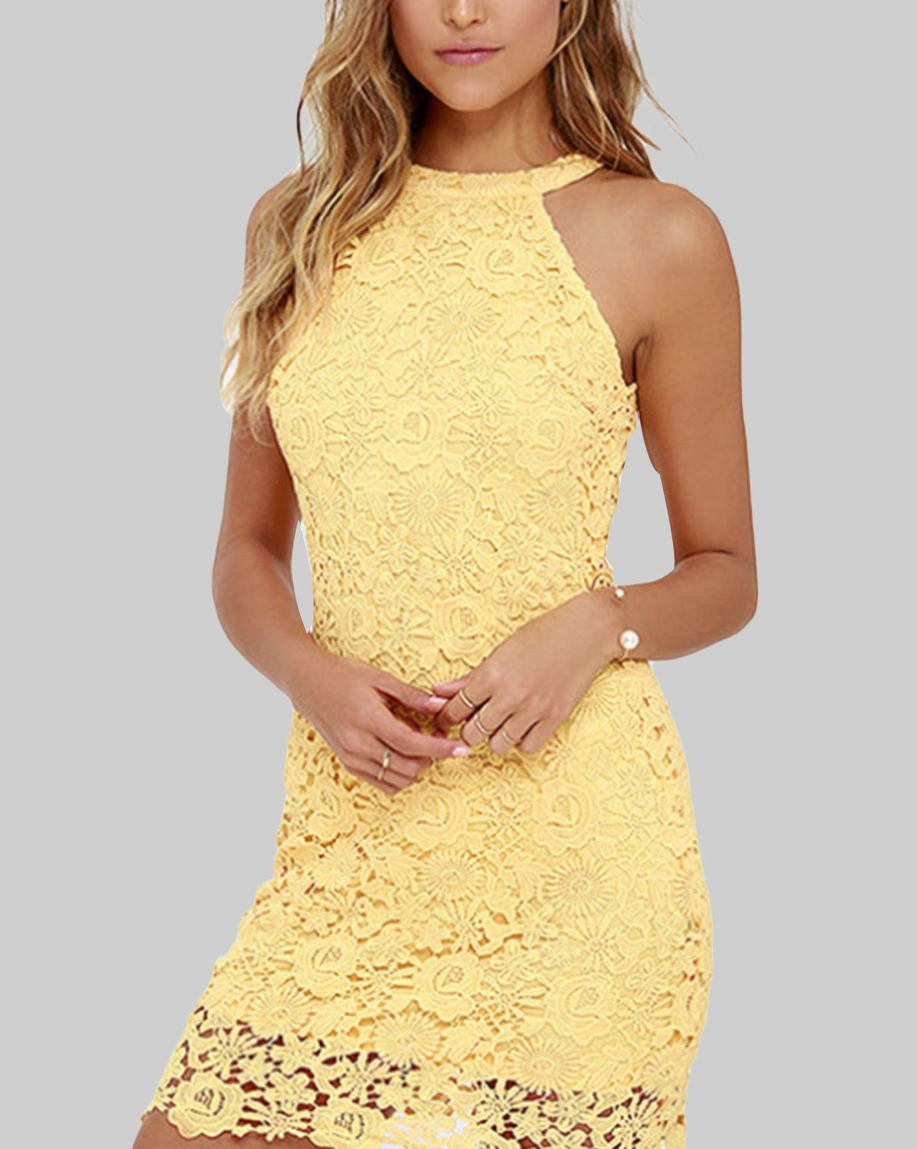 Sexy Night Club Halter Neck Sleeveless Sheath Lace Mini Dress - Beige S