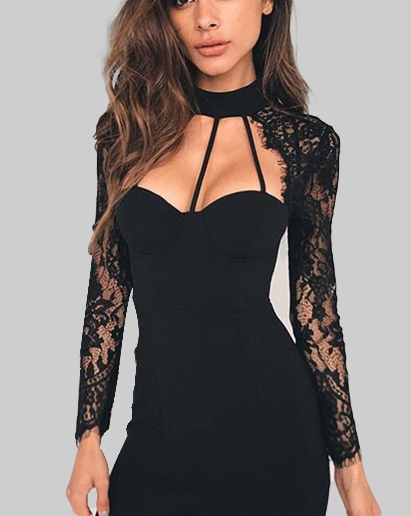 Casual Solid Slim Party Hollow Out Lace Long Sleeve Mini Dress - Black M