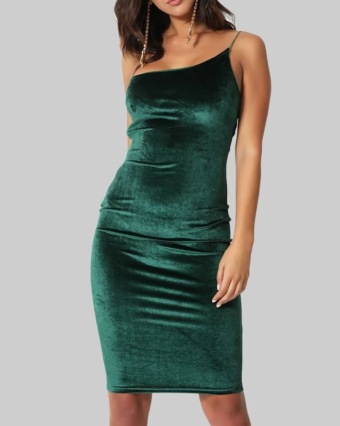 One Shoulder Strap Dress Suede Sexy Hip Skirt - Green S