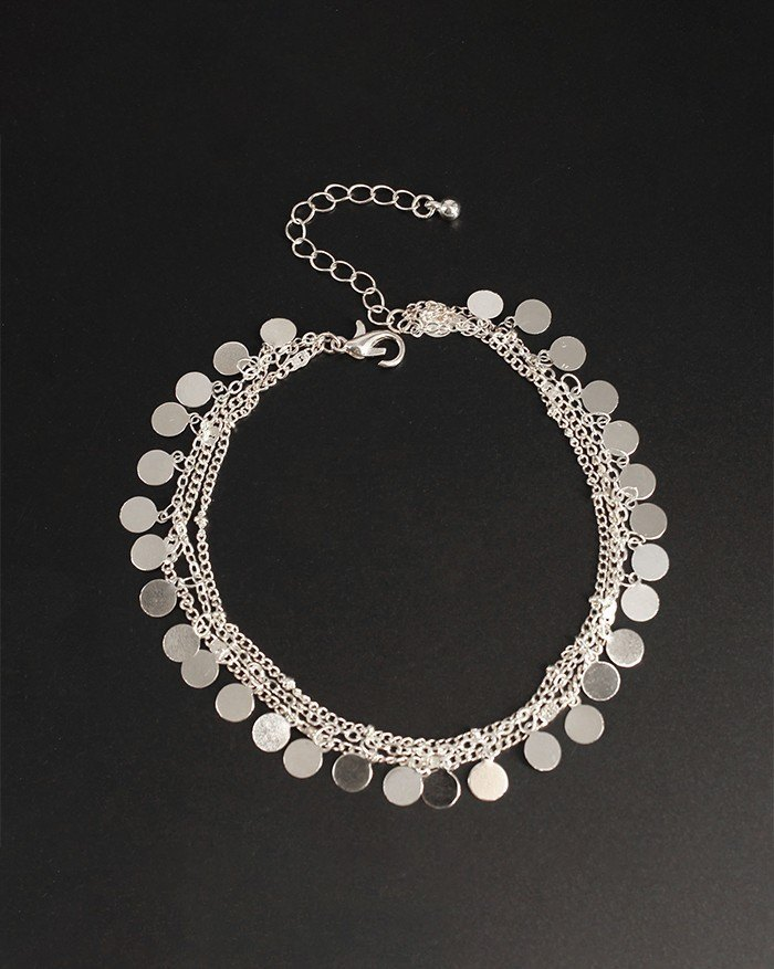 Metallic Sequins Three-Piece Multilayer Anklet - Silver ONE SIZE