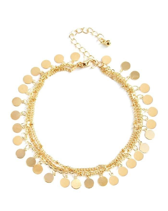 Bracelet de cheville multicouche à trois pièces à paillettes métalliques - d\'or ONE SIZE