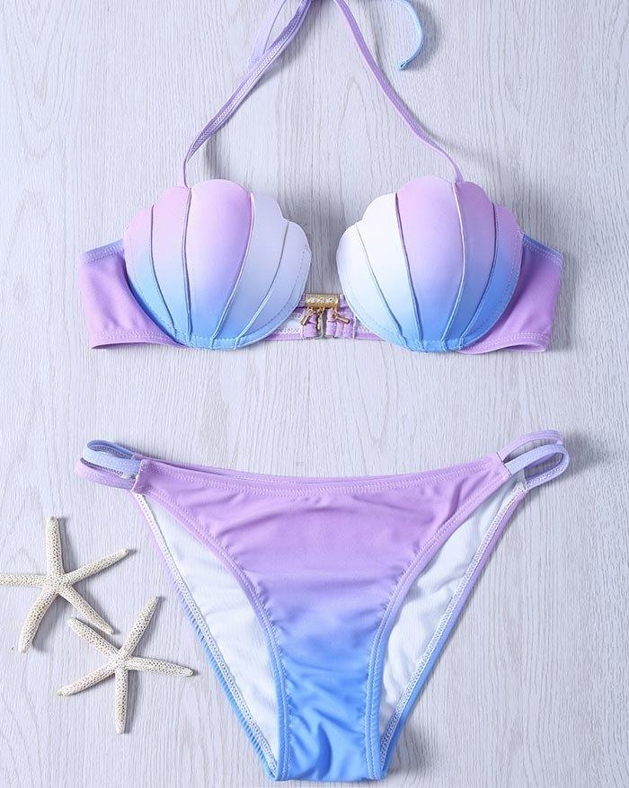 Tie-Dye Hanging Neck Mermaid Split Gradient Shell Triangle Bikini - Lilac M