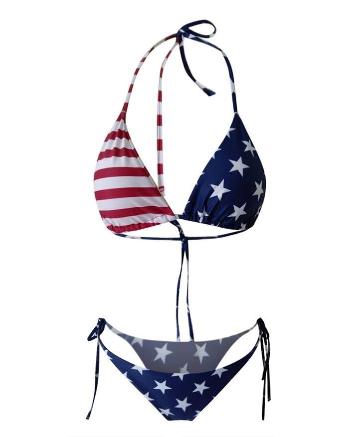 Hanging Neck Star And Stripe Print Triangle Micro Bikini - As The Picture S