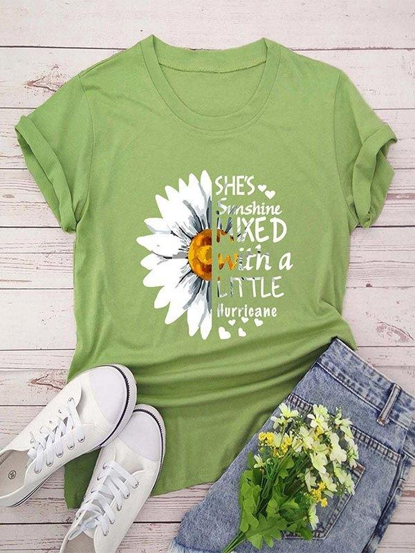 Daisy Letter Print Short Sleeve T-shirt - Green M