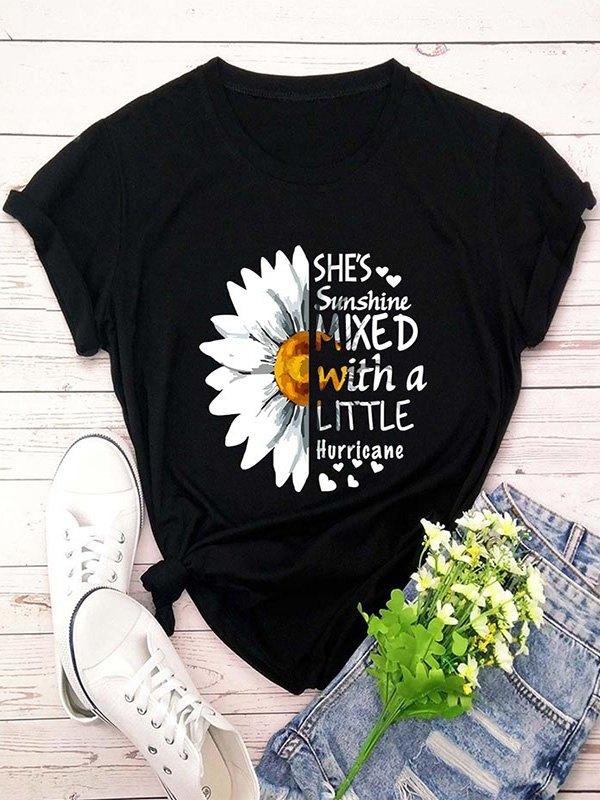 Daisy Letter Print Short Sleeve T-shirt - Black L