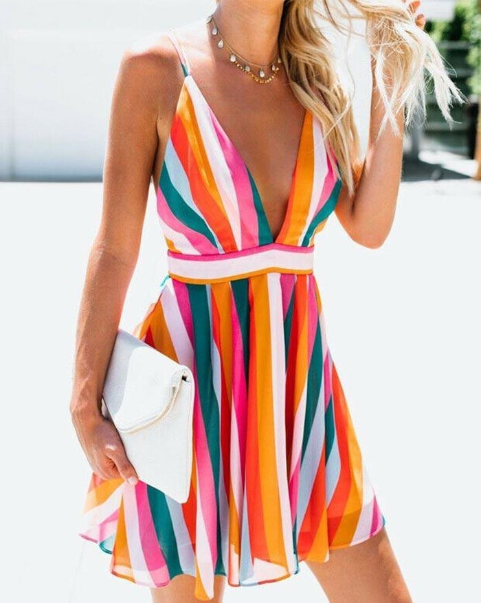 Open-Back V-Neck Color Beach Dress - As The Picture M