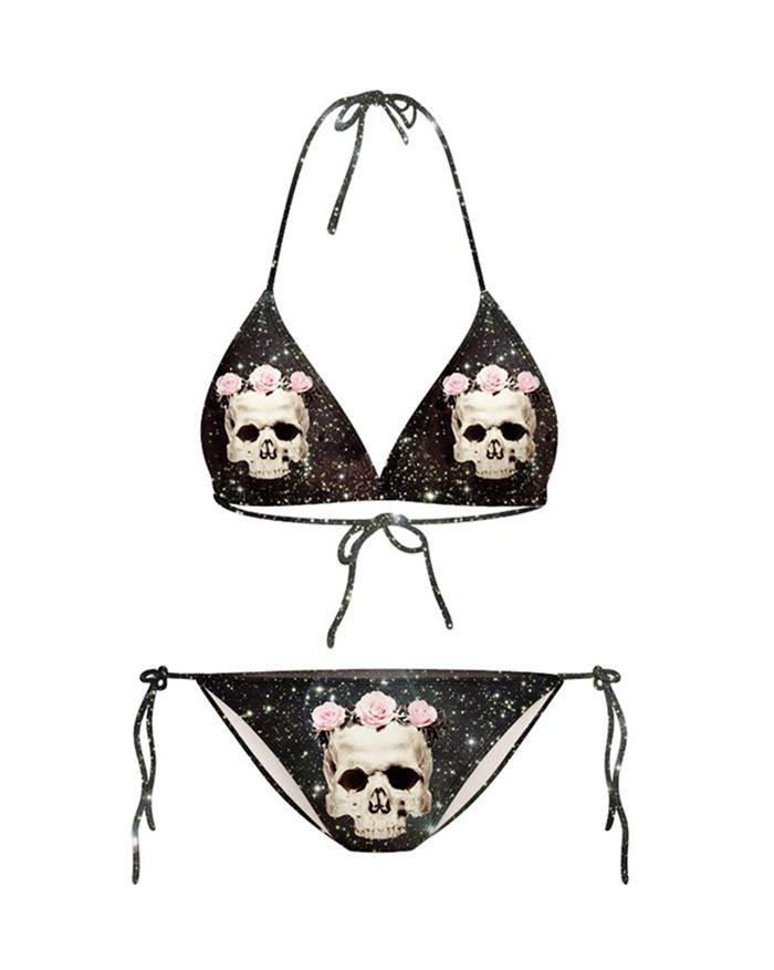 Skull Rose Flower Printing Lace Up Triangle Micro Bikini - As The Picture M
