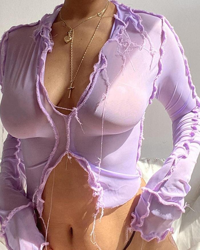 V-Neck Sexy See-Through Mesh Slim T-Shirt - Purple S