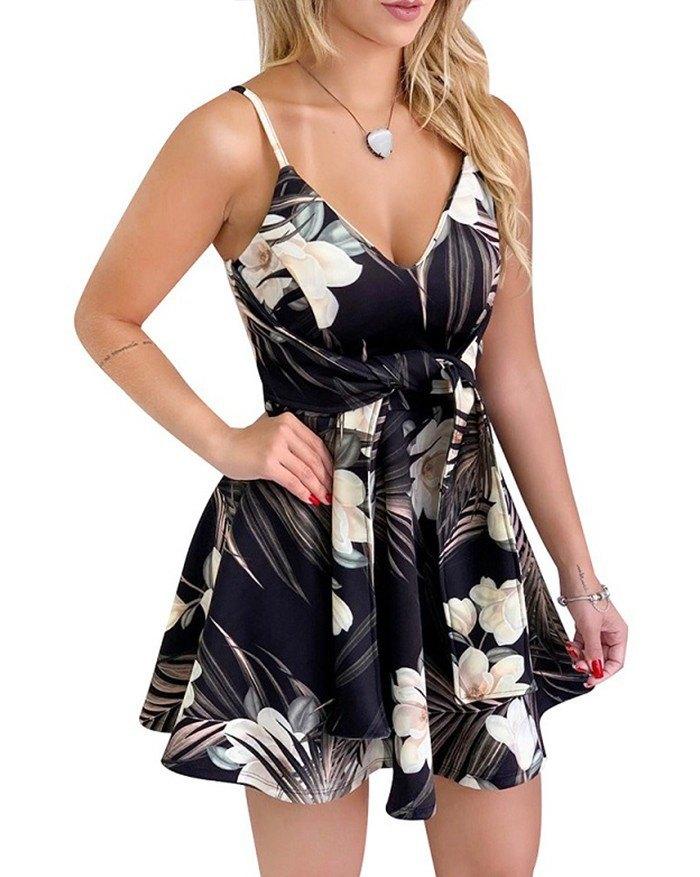 V-Neck Strapless Sleeveless Backless Bandage Print Mini Dress - Black S