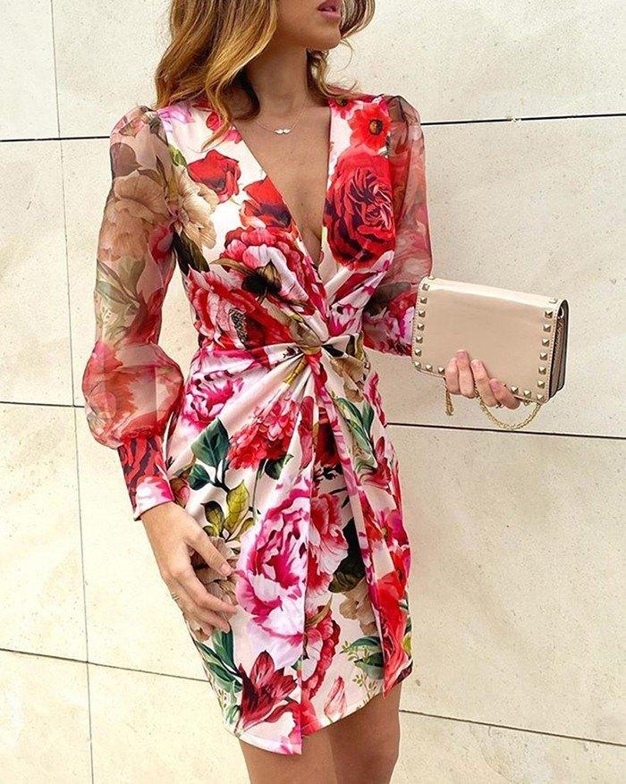 Printed Mesh Splicing Mini Dress - Red S