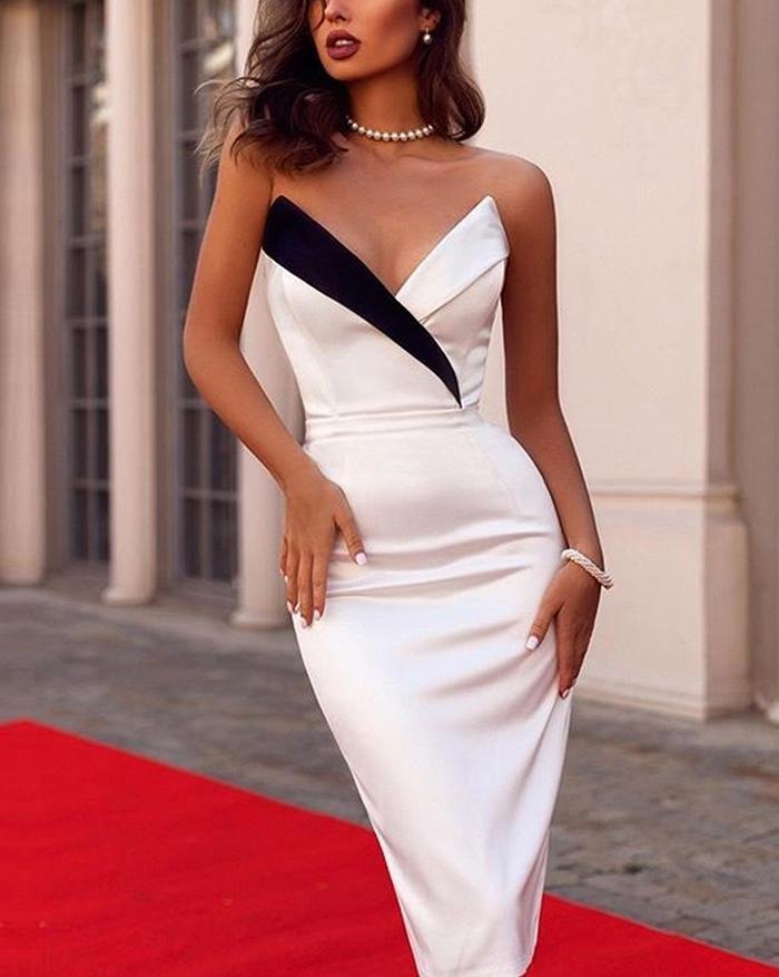 Bandeau Deep V-Neck Contrast Maxi Dress - White L