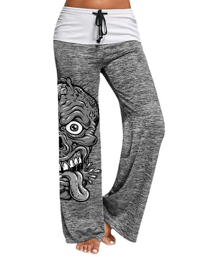 Stitching Skull Pattern Printed Active Yoga Pants -