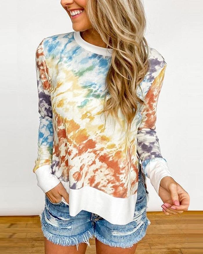 Tie-Dye Printed Gradient Sweater - Orange M