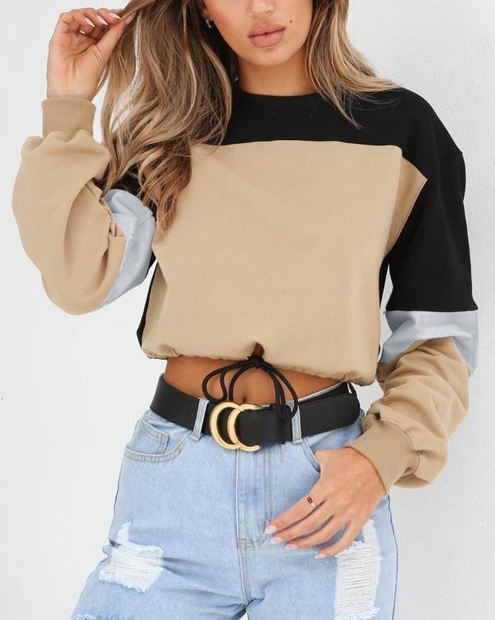 Stitched Crew Neck Strap Sweater - Khaki M