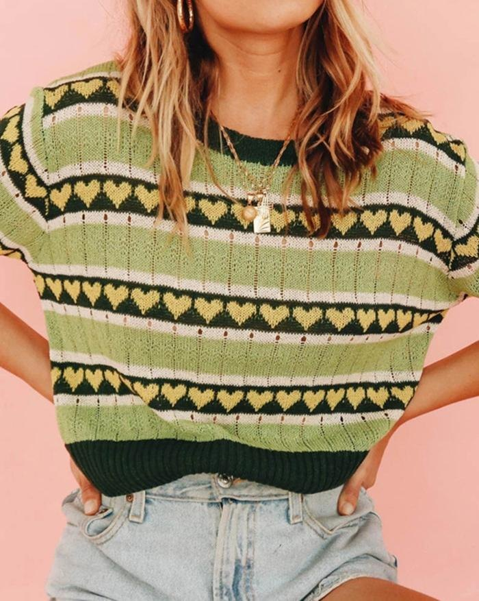 Love Jacquard Short Sleeve Knit Top - Sorbet Lime Green S
