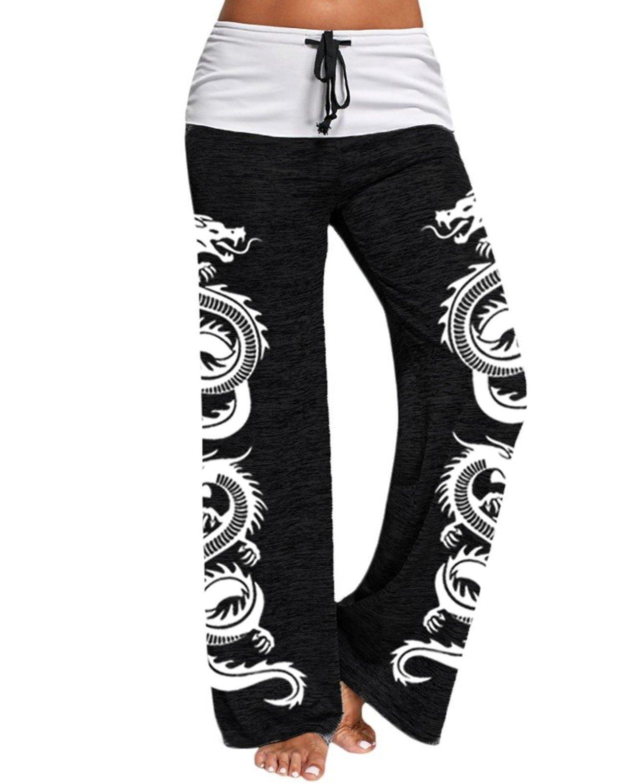 Pantaloni da yoga attivi stampati con elemento di drago in pizzo a vita alta - Nero 2XL