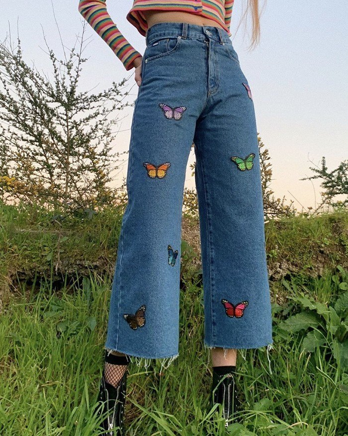High-Waist Color Butterfly Embroidered Straight Denim Slim Jeans - Blue S