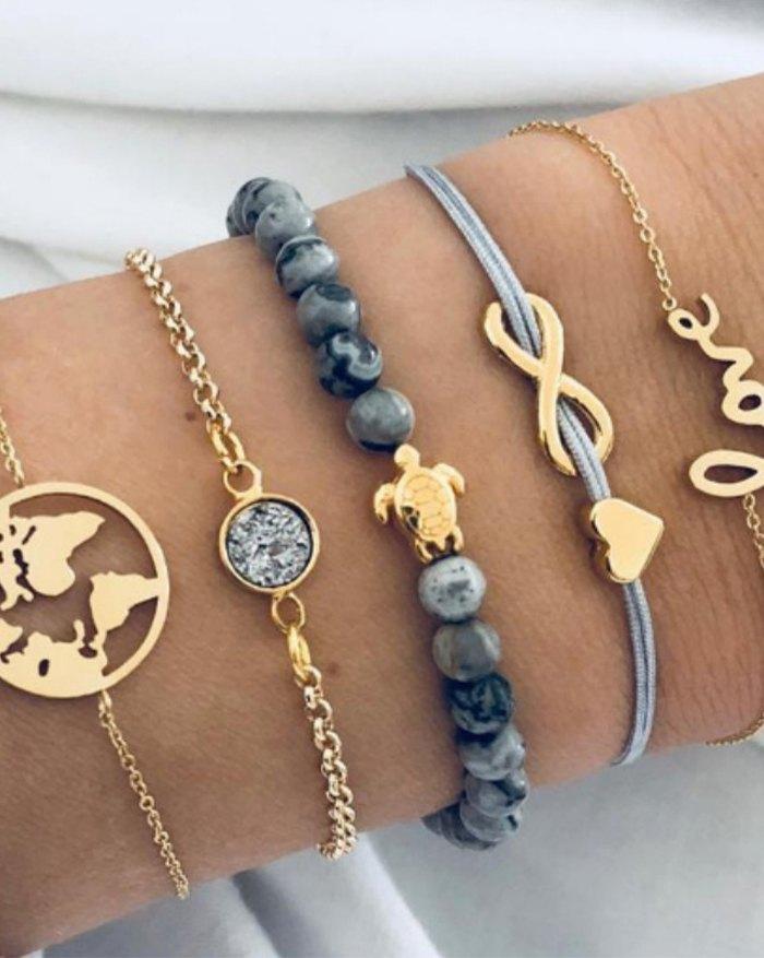 Bracelet en marbre de carte du monde de tortue mignonne 5 pièces - Melange de couleurs ONE SIZE