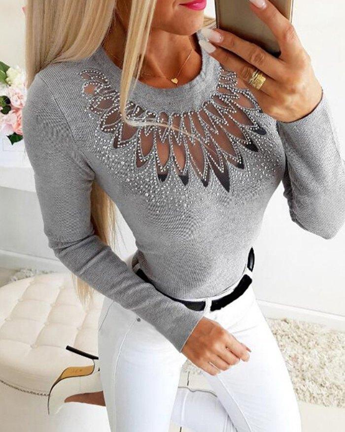 Lace Stitching Rhinestone Knit Top - Gray M