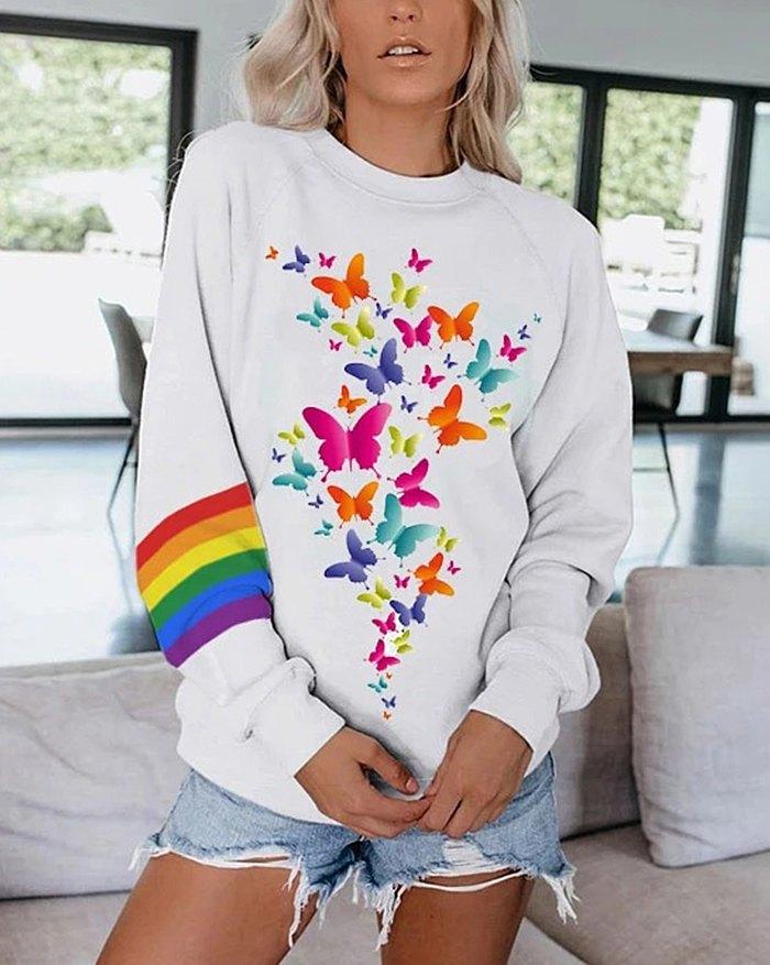 Rainbow Butterfly Print Long Sleeve Sweatshirt - White S