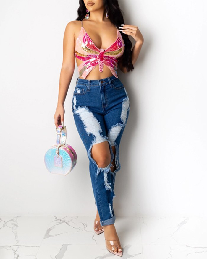 Butterfly Sequin Bandage Backless Cami Top - Pink S