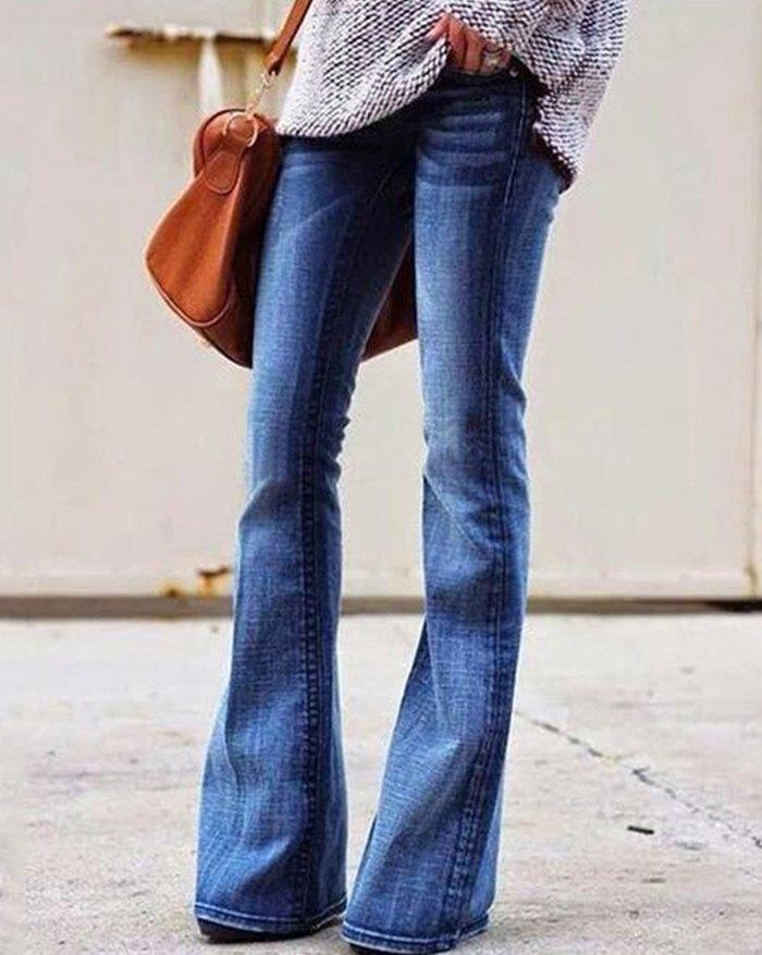 Mid Waist Skinny Flared Jeans - Blue L