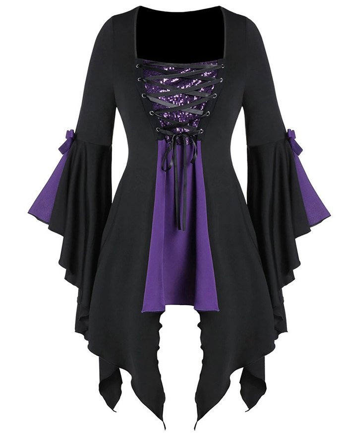 Mini abito gotico punk vintage Harajuku - Viola L